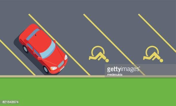 car park - disabled sign stock illustrations, clip art, cartoons, & icons