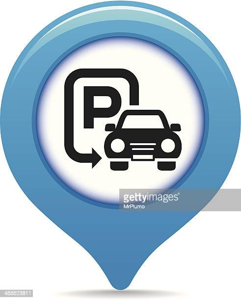 car parking map pointer - parking sign stock illustrations
