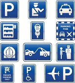 Car Parking Signs Icon Set