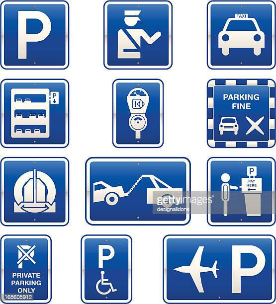 car parking signs icon set - disabled sign stock illustrations, clip art, cartoons, & icons