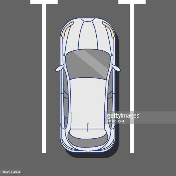 car parking top view - parking sign stock illustrations