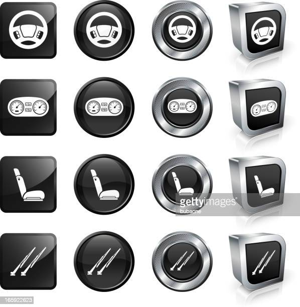 a car parts button set against a white background - odometer stock illustrations, clip art, cartoons, & icons