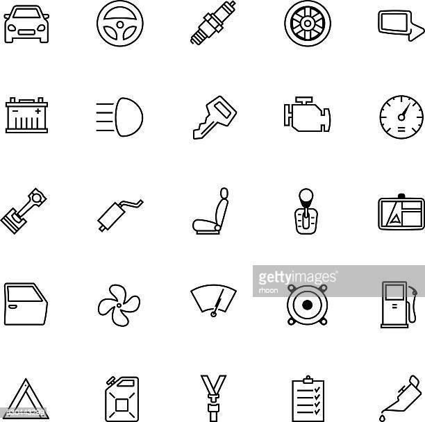 car parts icon set - gearshift stock illustrations, clip art, cartoons, & icons