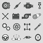 Car Parts Icons.  Sticker Design. Vector Illustration.