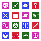 Car Parts Icons. White Flat Design In Square. Vector Illustration.