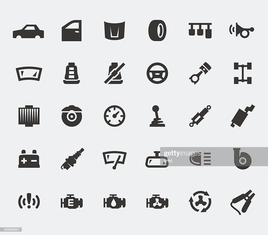 Car parts large icons set
