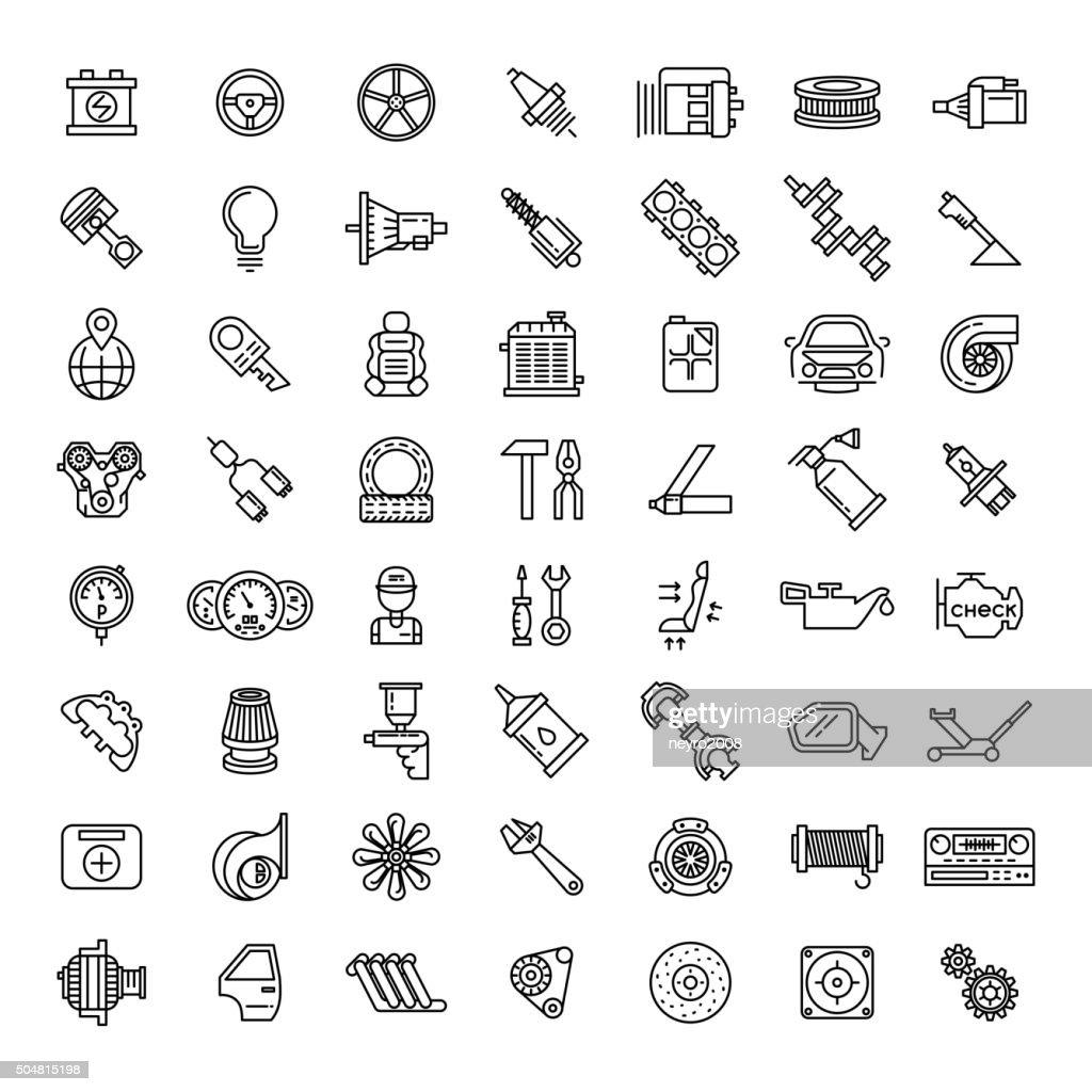 Car parts line icons set