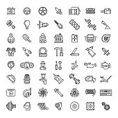 Car parts line icons set