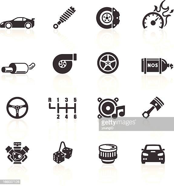 car parts & performance icons - gearshift stock illustrations, clip art, cartoons, & icons