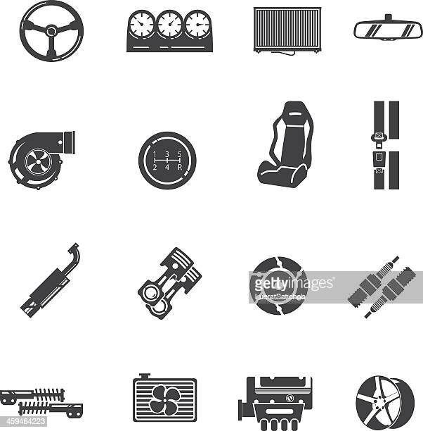car parts silhouette icons - tire vehicle part stock illustrations, clip art, cartoons, & icons
