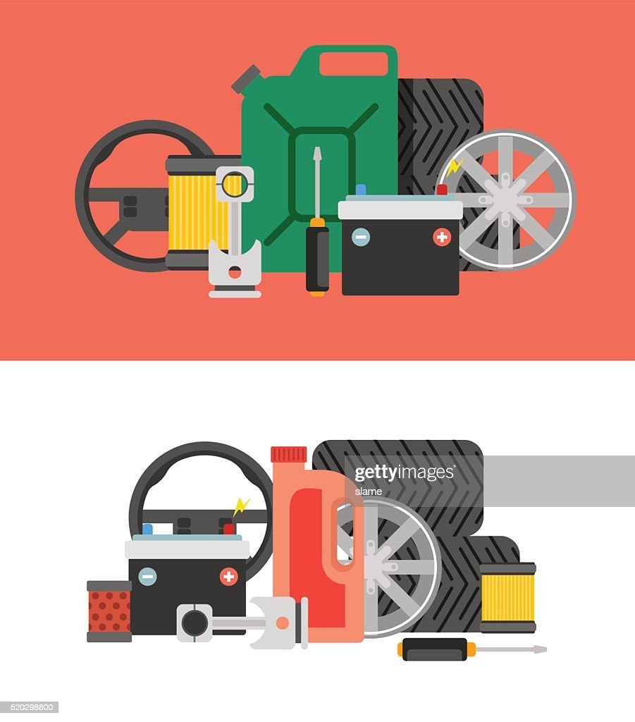 Car Parts Vector Set Car Service Vector Icon Set Vector Art Getty