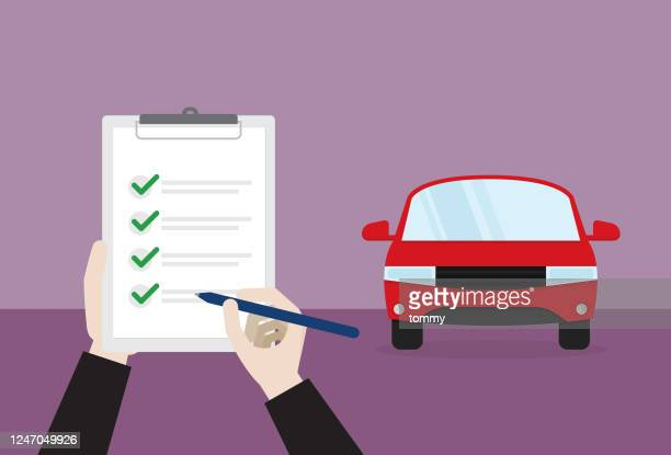 a car passes a check - permission concept stock illustrations