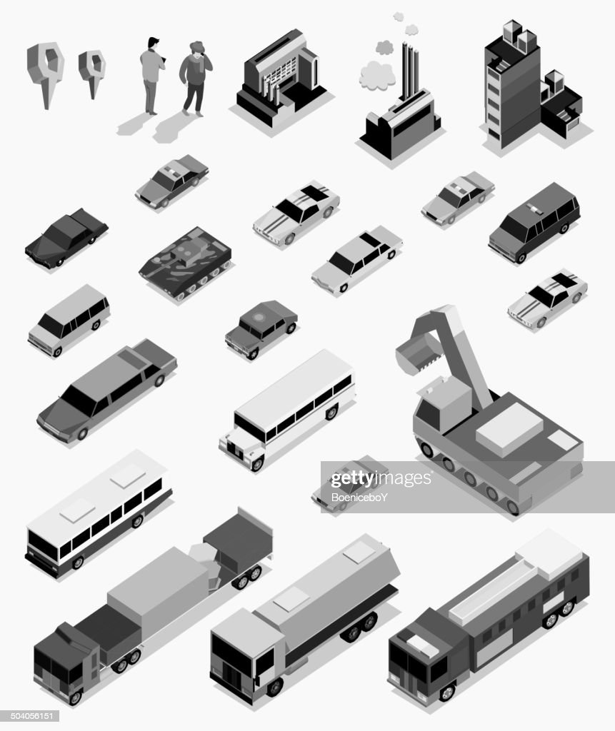 car, people and building isometric on black white color