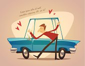 Car. Poster. Vector retro styled illustration.