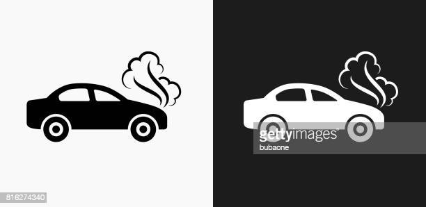 car problem icon on black and white vector backgrounds - smoke physical structure stock illustrations, clip art, cartoons, & icons