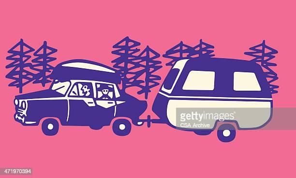 Car Pulling Camper