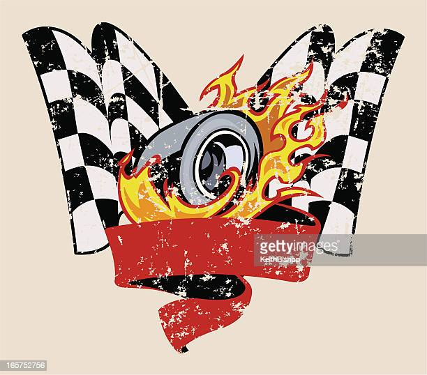 Car Race Graphic with Flaming Tire & Checkered Flag