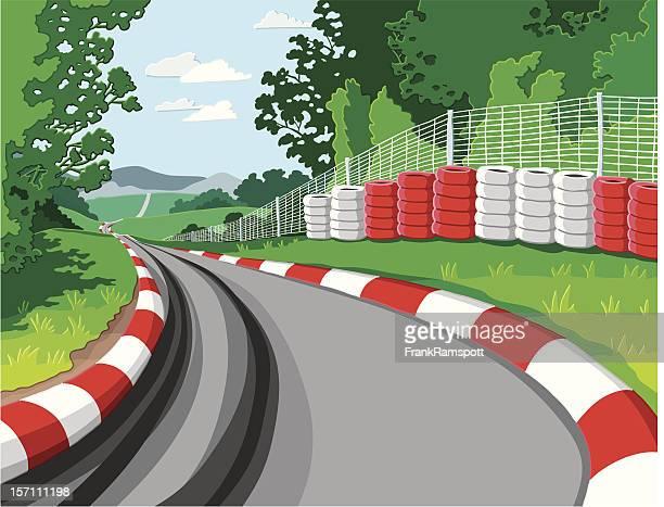 ilustraciones, imágenes clip art, dibujos animados e iconos de stock de coche de carreras - circuito de carreras de coches