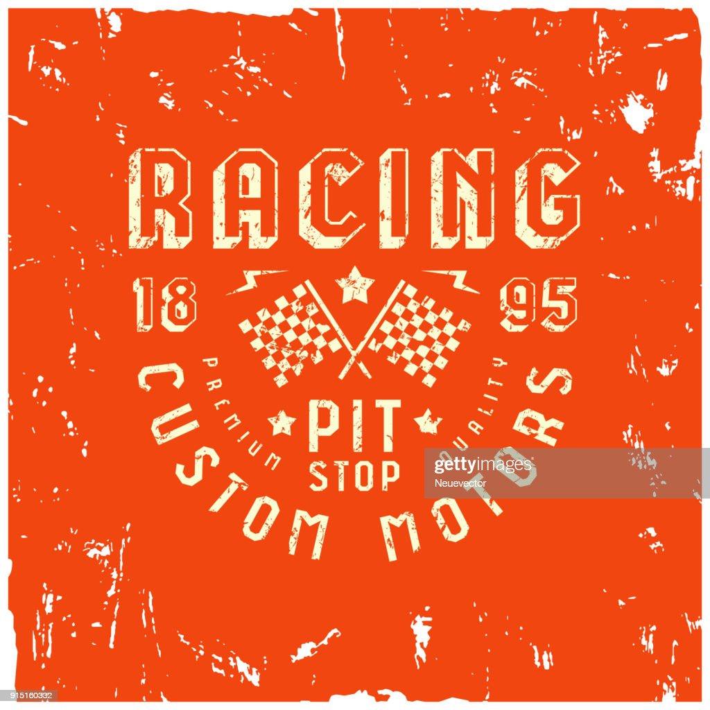 Car racing badge in retro style