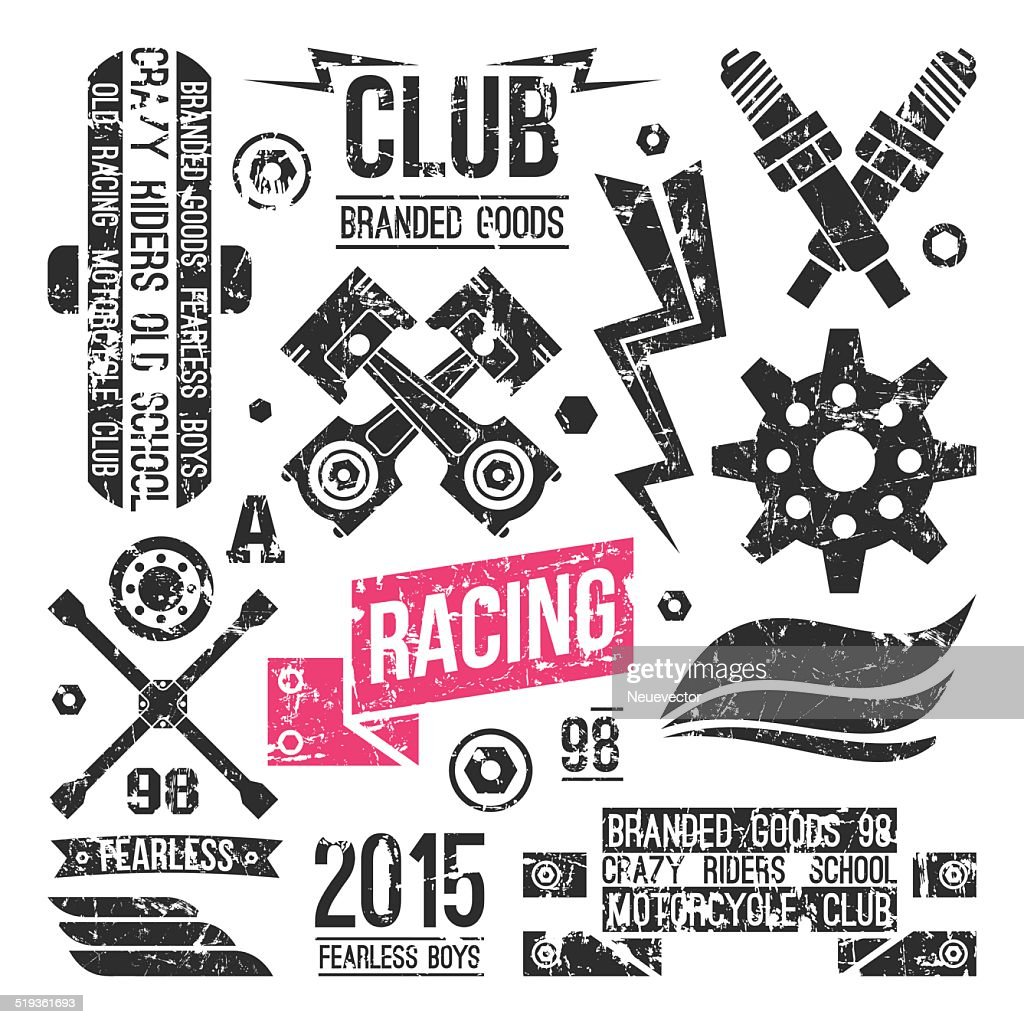 Car racing badges in retro style