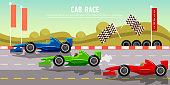 Car racing banner. Tyre drift on race circuit finish line