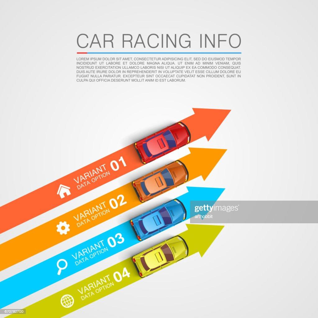 Car racing info art cover