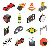 Car racing isometric 3d icons