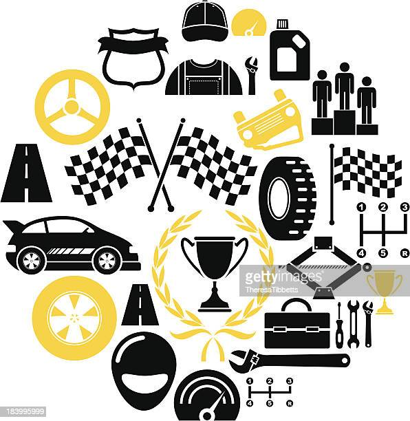 car rally icon set - rally car racing stock illustrations, clip art, cartoons, & icons