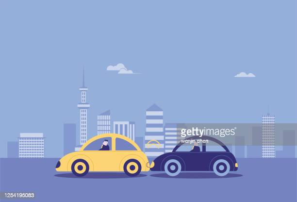 car rear-end, traffic accident, car insurance - graphic car accidents stock illustrations