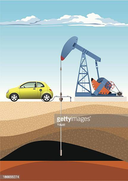 car refuels from pump jack - oil pump stock illustrations, clip art, cartoons, & icons
