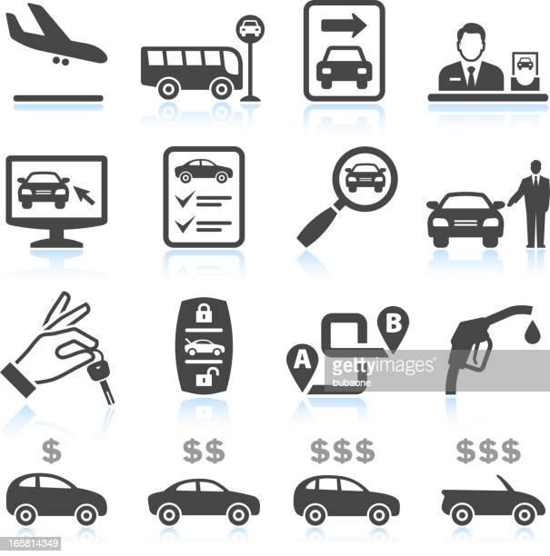ilustraciones, imágenes clip art, dibujos animados e iconos de stock de alquiler de automóviles & blanco negro sin royalties de conjunto de iconos vectoriales - alquiler de coche