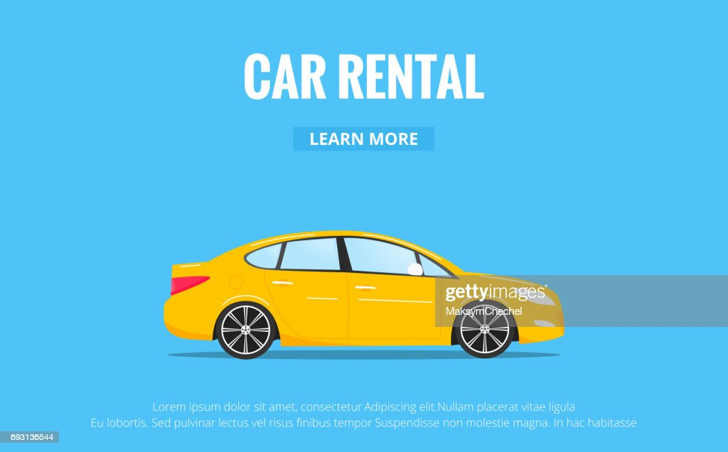 Car Rental Modern Automobile In Trendy Style With Typography For ...