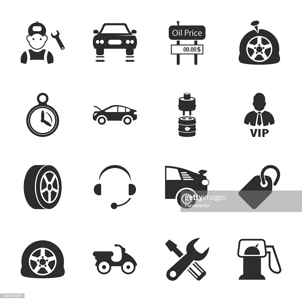 car repair 16 icons universal set for web and mobile