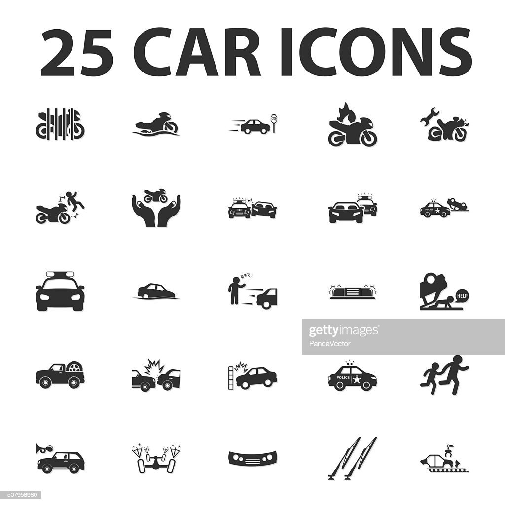 Car, repair 25 black simple icons set for web