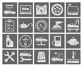 Car repair and maintenance, gray icons, pencil hatching, vector.
