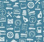 Car repair and maintenance, seamless pattern, blue, pencil hatching, vector.