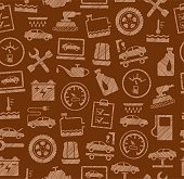 Car repair and maintenance, seamless pattern, brown, colored, pencil hatching, vector.