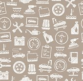 Car repair and maintenance, seamless pattern, gray, white, pencil hatching, vector.