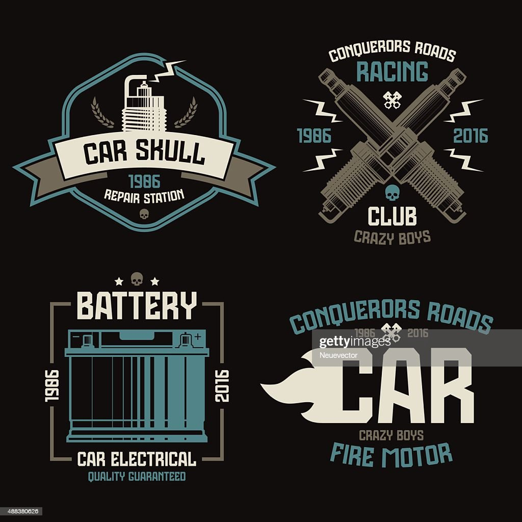 Car repair and racing emblems
