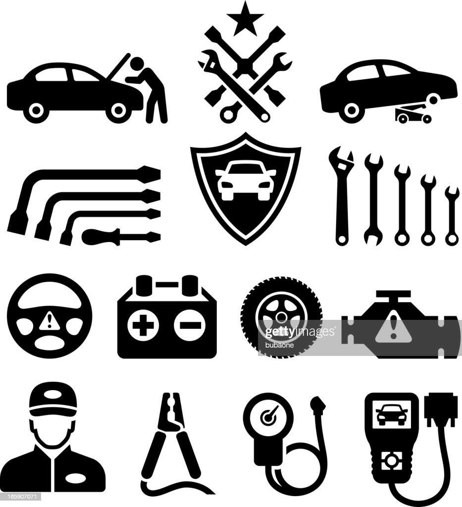 Car Repair black & white royalty free vector icon set