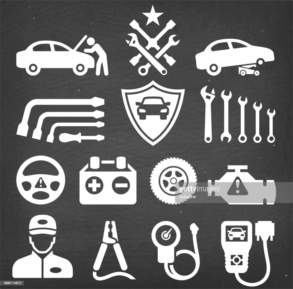 Car Repair Chalk Board Royalty Free Vector Icon Set Stock