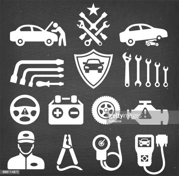 car repair chalk board royalty free vector icon set - car battery stock illustrations, clip art, cartoons, & icons