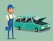 Car repair. Funny mechanic. Vector cartoon illustration