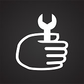 Car repair hand with wrench on black background for graphic and web design, Modern simple vector sign. Internet concept. Trendy symbol for website design web button or mobile app.