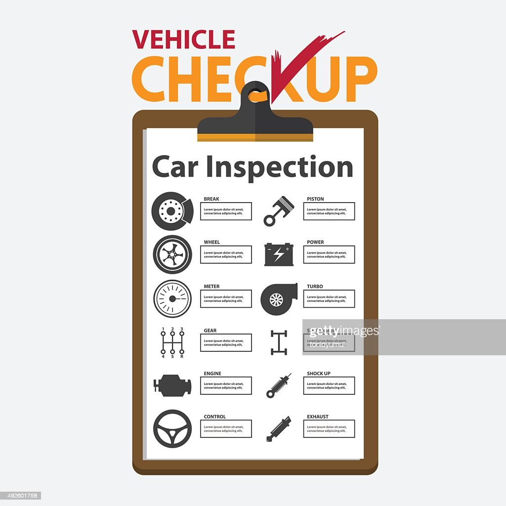 Car repair infographic in flat design. Checkup clipboard.