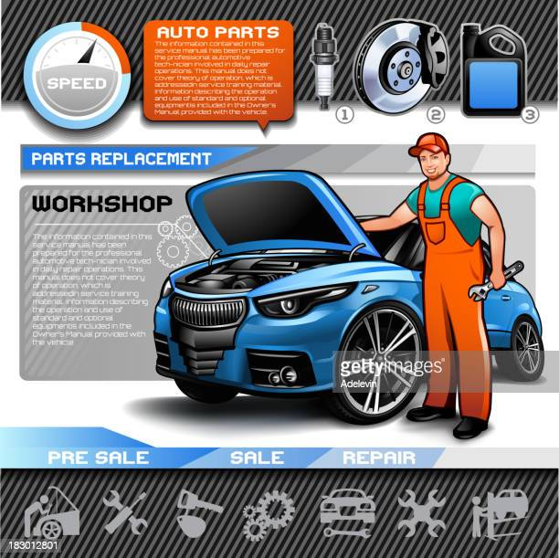 Car repair infographic set