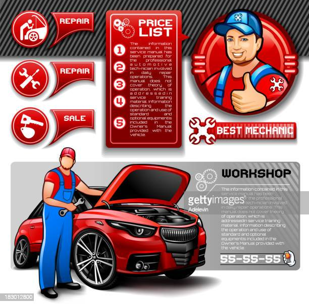car repair infographics - vehicle hood stock illustrations, clip art, cartoons, & icons