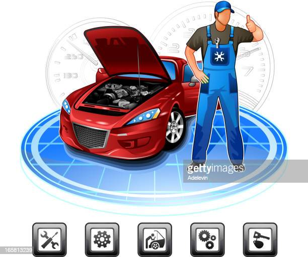 car repair mechanic - vehicle hood stock illustrations, clip art, cartoons, & icons