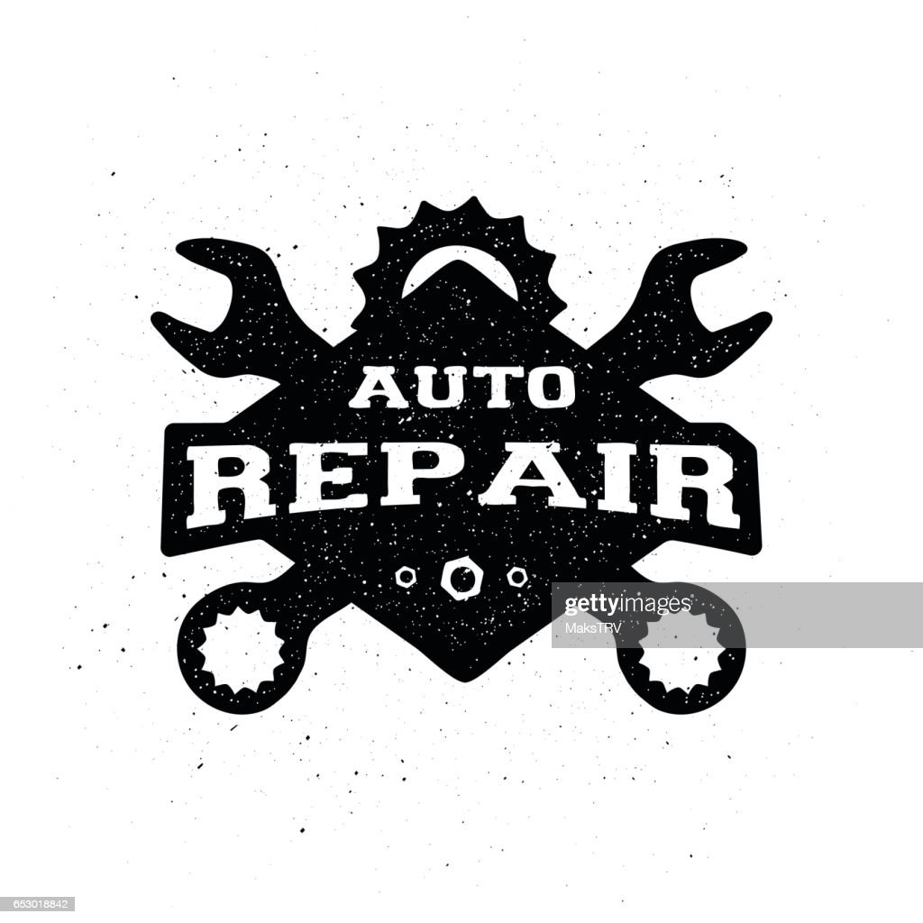 Car repair, monochrome emblem.