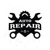 Car repair, monochrome emblem.